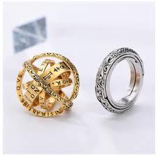 New Style <b>Astronomy Ball</b> Ring Flip Deformation <b>Creative</b> Couple ...