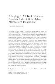 <b>Bringing</b> It All Back Home or Another Side of <b>Bob Dylan</b>: Midwestern ...