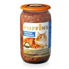 <b>Puffins консервы</b> для кошек <b>Телятина и</b> баранина 650 г (стекло ...
