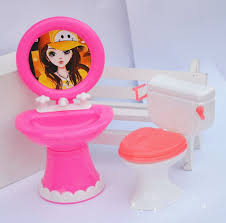 kid39s doll house toys doll accessories plastic wash basin toilet set barbie furniture dollhouse