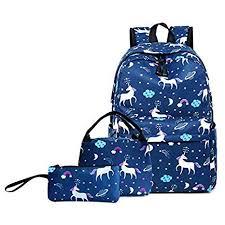Big Student <b>Backpack 3Pcs</b>/<b>Set</b> Rainbow Unicorn Printed <b>School</b> ...