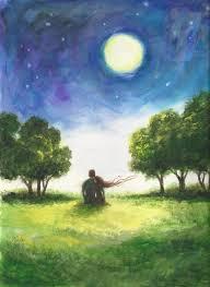 Lovers Art <b>Print</b> loving <b>couple starry night</b> moon romantic | Etsy ...
