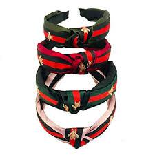 4 Pack - Red <b>Green</b> Stripe Headbands for Women - Hair <b>Hoops</b>