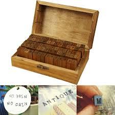 <b>70 PCS</b> Vintage DIY Retro Wooden <b>Number Letter Set</b> Stamp Craft ...