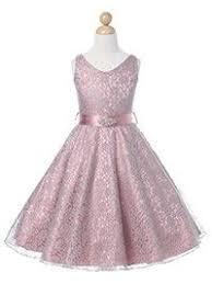 Dusty Rose <b>Lovely Lace</b> V-Neck <b>Flower Girl</b> Dress (Available in ...