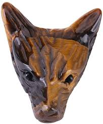 Wolf Head Shaped Pendant, 4cm <b>Natural Tigers</b> Eye <b>Stone Wolf</b> ...