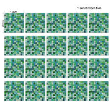 Mosaic Tile Wall Stickers <b>20Pcs</b>/<b>Set</b> Waterproof Oilproof Self ...