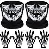 4 Pairs <b>Halloween</b> Skeleton Gloves Unisex <b>Skull Bone</b> Gloves Full ...