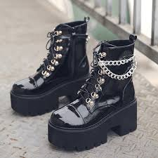 Women Gothic Ankle Boots Zip Punk Style Platform Shoes Goth ...