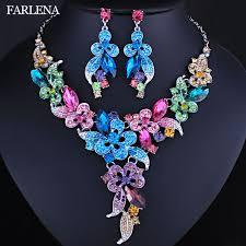 FARLENA Wedding Jewelry <b>Multicolor Crystal Rhinestones Flower</b> ...