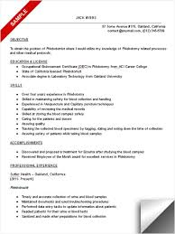 phlebotomist resume sample phlebotomy resume