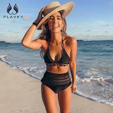 2019 <b>Sexy Halter Retro Mesh</b> Hollow Out String Biquini Bathing Suit