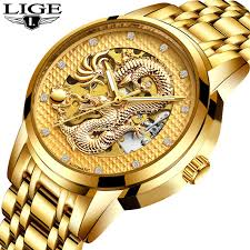 <b>LIGE</b> Men's Dragon <b>Skeleton Automatic Mechanical</b> Waterproof ...