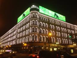 brickstone realty joined by councilman mark squilla hosted a gathering to reveal the historic lit brothers buildings new facade lighting building facade lighting