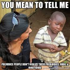 You mean to tell me Prejudice people don't realize their ... via Relatably.com