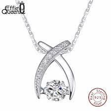 <b>Effie Queen</b> Real <b>925</b> Sterling Silver Necklace Flickering CZ Zircon ...