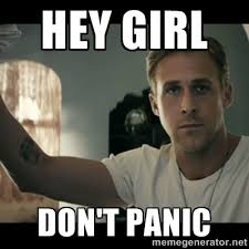 HEY GIRL Don't panic - ryan gosling hey girl | Meme Generator via Relatably.com