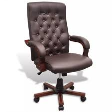 Chesterfield <b>Office Chair Artificial</b> Leather Brown– House of Isabella ...