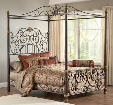 classic mid century gray wrought iron canopy bed frame with f decorative floral pattern ornaments bedroom endearing rod iron