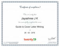 jayashree guide to cover letter writing course sample certificate