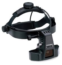 This is a binocular indirect ophthalmoscope.  It gives the optometrist a better view of the eye than the direct ophthalmoscope.