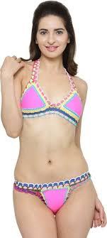 N-Gal Pink <b>Handmade</b> Crotchet Neoprene <b>Latex</b> Bathing Suit Solid ...