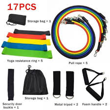 <b>11pc Resistance Bands Set</b> Expander <b>Yoga</b> Exercise Fitness ...