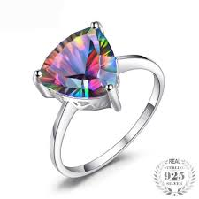 JewelryPalace <b>Natural Rainbow Fire Mystic</b> Topaz Ring For Women ...