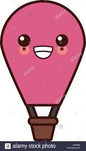 <b>Hot air</b> balloon <b>cute kawaii cartoon</b> Stock Vector Art & Illustration ...