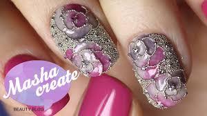 Маникюр с Кристаллами Пикси. Дизайн ногтей Розы <b>гель лаком</b> ...