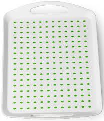 """<b>Поднос</b> """"<b>Menu</b>"""", с <b>ручками</b>, цвет: белый, зеленый, 46 х 31 см"""