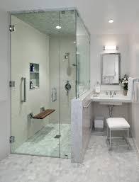 teak bench bathroom transitional with flip down shower bench hex tile hexagon tile recessed lighting rectangular bathroom recessed lighting bathroom modern