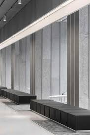 design of office building. this lobby to an office building of 1200m2 is mostly made with a recycled material design u