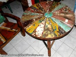 bt2 1 round table recycled boat wood furniture bali bt2 8 rustic wood furniture