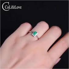Simple design <b>emerald wedding</b> ring 4 mm * 6 mm 0.5 ct real <b>natural</b> ...