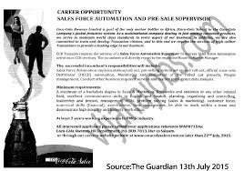 s force automation and pre supervisor tayoa employment job description