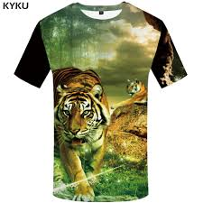 <b>KYKU Brand Tiger</b> T Shirt Men Animal Tshirt Forest 3d Print T shirt ...
