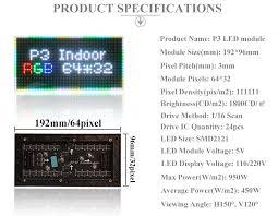 <b>P3 Indoor</b> 1/16 Scan 3in1 RGB <b>P3 Full color</b> LED module for LED ...