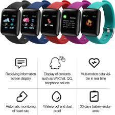 D13 Smart watch <b>116 Plus sports wristband</b> Fitness blood pressure ...