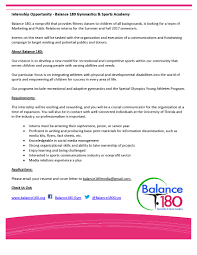 internship opportunity balance gymnastics sports academy our particular focus is on integrating athletes physical and developmental disabilities into the world of sports students who are interested in