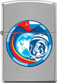 "<b>Зажигалка Zippo</b> ""<b>Гагарин</b>"", цвет: серебристый, 3,6 х 1,2 х 5,6 см ..."