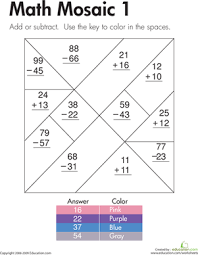 Addition and Subtraction: Math Mosaic 1 | Worksheet | Education.comSecond Grade Addition Subtraction Worksheets: Addition and Subtraction: Math Mosaic 1
