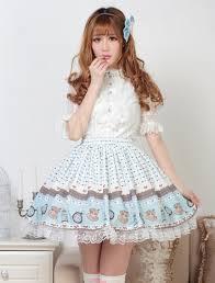 Lolitashow Sweet <b>Light Blue</b> Lolita Short <b>Skirt Lace</b> Trim Heart Print ...