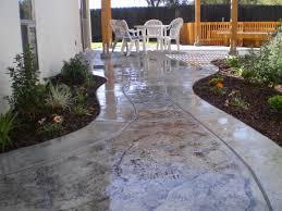 astonishing stamped concrete patio shapes also white plastic stackable garden chairs with thin cushion pads and browse cement furniture