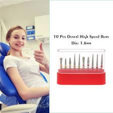 <b>10</b> Pcs <b>Dental Diamond</b> Drill Bits High Speed Burs Set <b>Teeth</b> ...