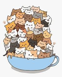 kawaii cats in teacup