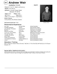 Sample Audition Resumes  musical theatre examples  example theater