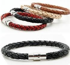 Unisex Women Men Braided Leather <b>Steel Magnetic</b> Clasp Bracelet ...