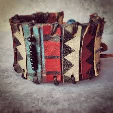 Tribal Leather <b>Bracelet</b> - <b>Ethnic</b> Leather Cuff - Chevron <b>Jewelry</b> ...