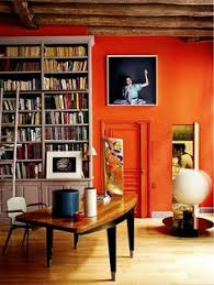 home office with orange wall burnt red home office